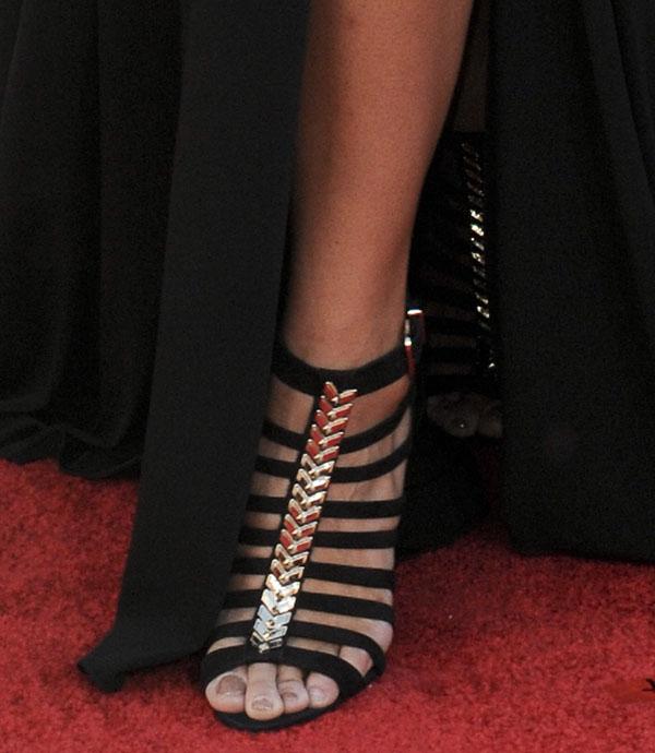 Jordin Sparks shows off her feet in Schutz Blandina strappy sandals