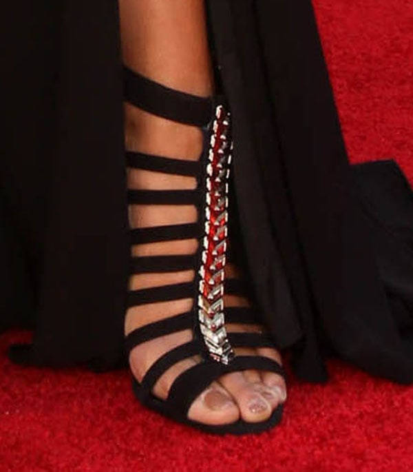 Jordin Sparks displays her toes in strappy high heels