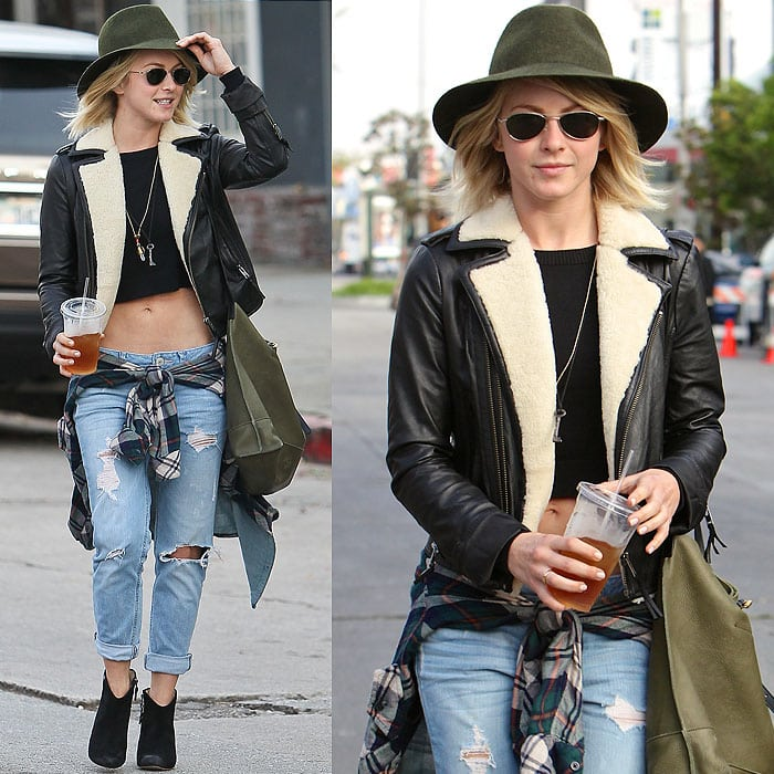 Julianne Hough pairs a shearling-lined leather jacket with a crop top and ripped jeans