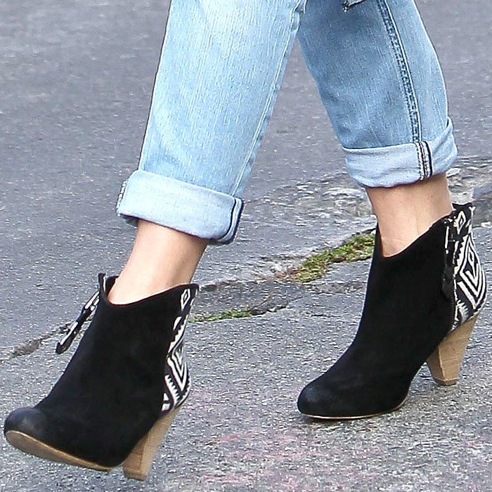 Julianne Hough wears a pair of Matt Bernson booties on her feet