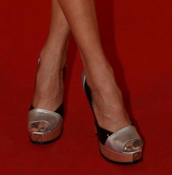 "Karolina Kurkova wearing Fendi ""Fendista"" pumps"