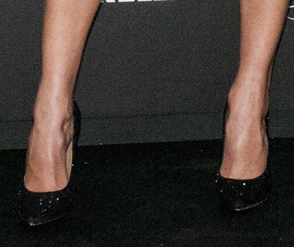 Karolina Kurkova wearing Salvatore Ferragamo Swarovski pumps