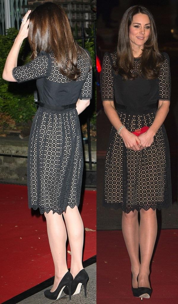 Kate Middleton arriving at the Embankment Gardens