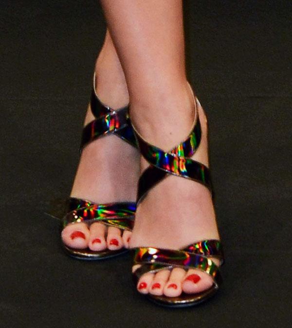 Katy Perry in Jimmy Choo Lottie disco hologram sandals