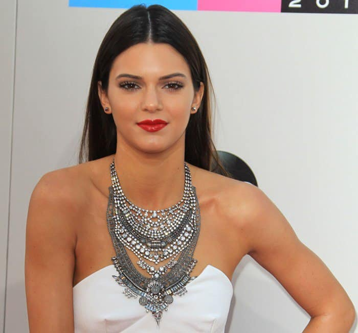 Kendall Jenner wearing a Dylanex Falkor antiqued crystal Swarovski necklace made with signature coins and detailed Indian filigree