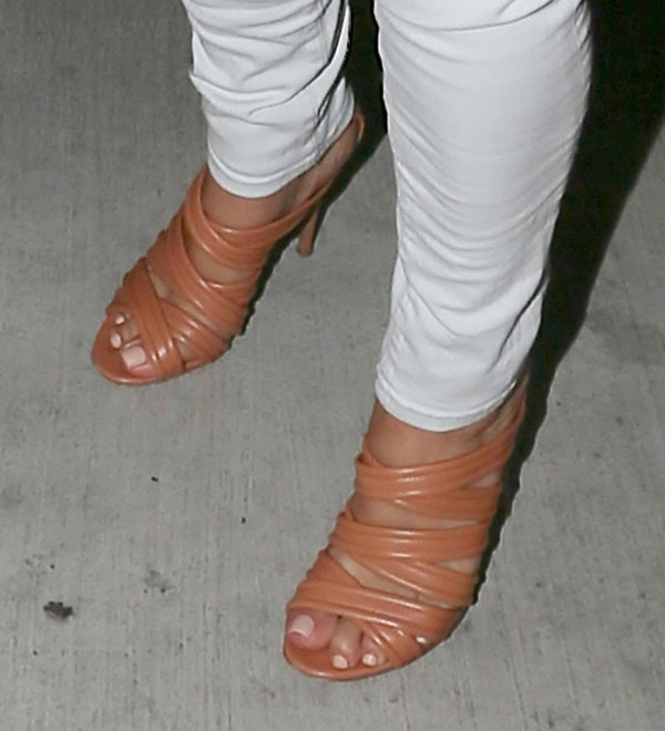 Kim Kardashian's feet in Gianvito Rossi sandals