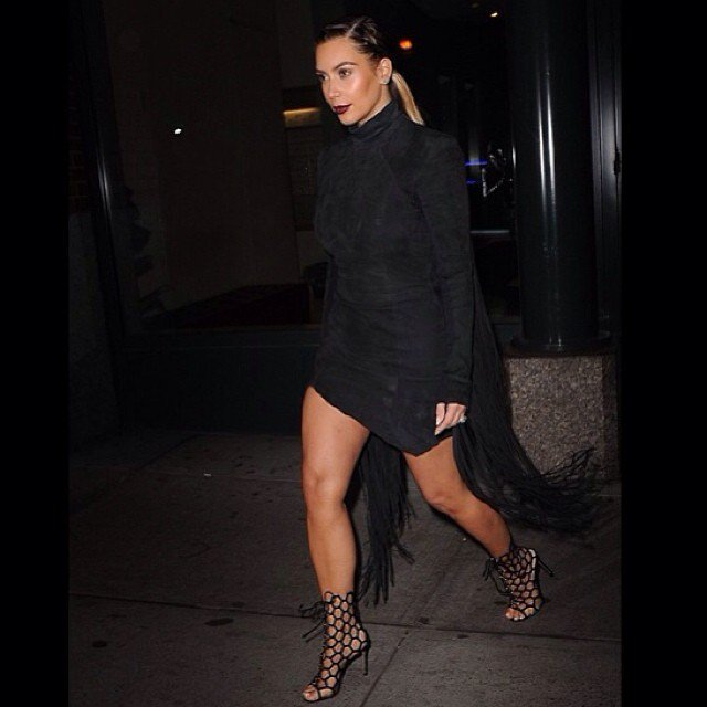 Shared by Kim Kardashian with the caption 'Last nights look- Gareth Pugh dress, Gianvitto Rossi heels Glam- @michaelsilvahair @meredithbaraf'