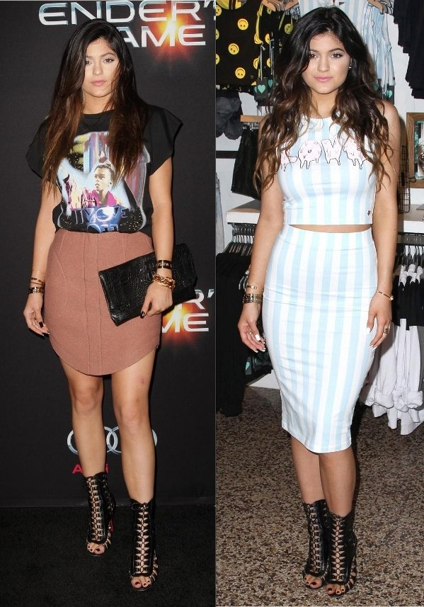 Kylie Jenner at the premiere of 'Ender's Game' in Los Angeles on October 29, 2013 and at the launch of the Kendall & Kylie Holiday Collection in California on November 9, 2013