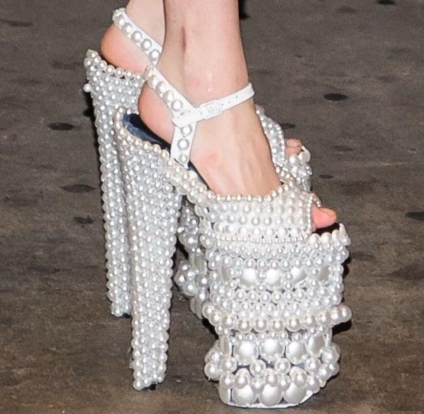 Lady Gaga wearing pearl platform shoes