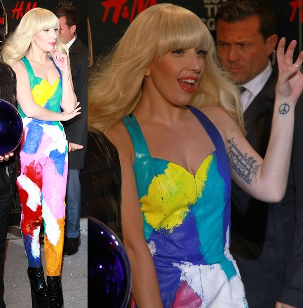 Lady Gaga shows off her blonde hair and tattoos at the opening of the Epic H&M Store in New York City's Times Square
