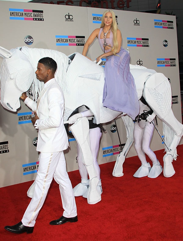 "Lady Gaga arriving on a ""horse"" at the 2013 American Music Awards at the Nokia Theater L.A. Live in Los Angeles on November 24, 2013"