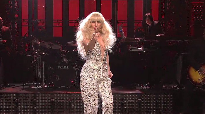 Lady Gaga wears a sparkly jumpsuit for her performance on Saturday Night Live
