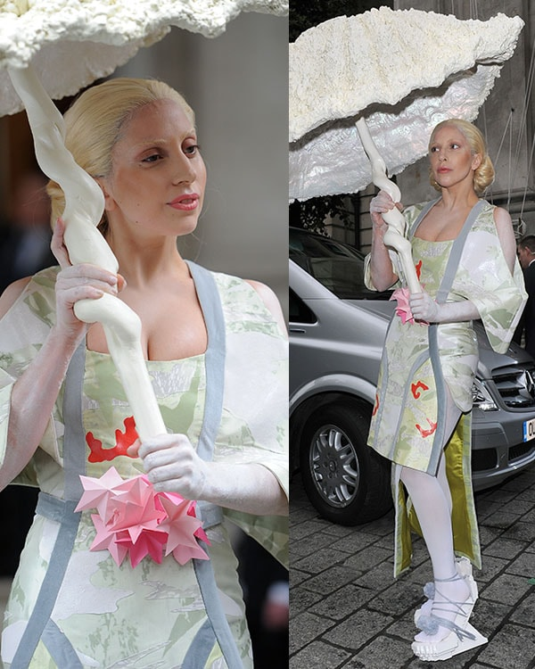 Lady Gaga photographed as a Geisha doll outside her hotel in London on October 31, 2013