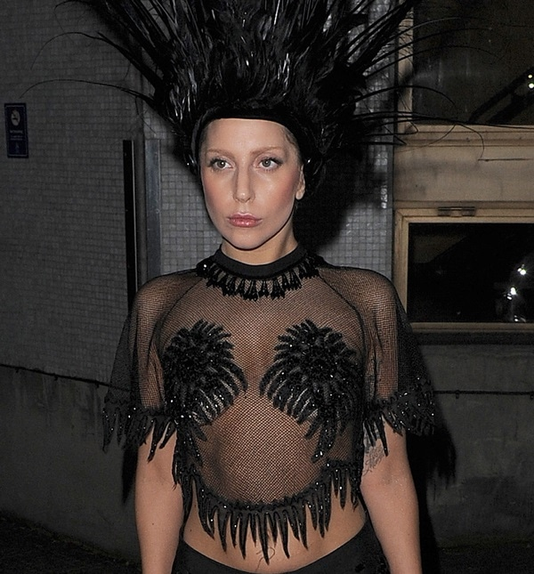 Lady Gaga leaving the ITV studios after filming the Graham Norton Show, wearing a typically outlandish outfit