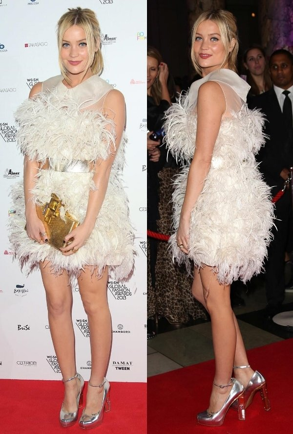 Laura Whitmore in a feathery Nicholas Oakwell dress