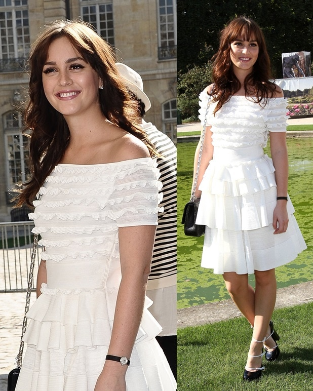 Leighton Meester wears a pair of triple-strap Louis Vuitton pumps to the Dior Spring/Summer 2012 show during Paris Fashion Week on September 30, 2011