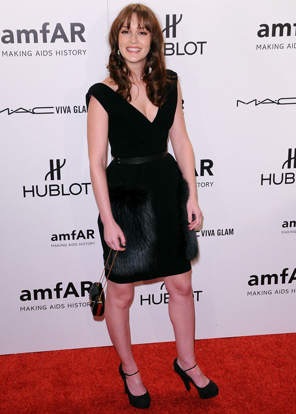 Leighton Meester wears Louis Vuitton from head to toe as she attends the amfAR Gala at Cipriani in New York on February 8, 2012
