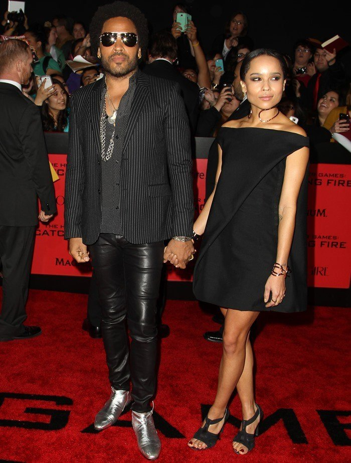 """Lenny Kravitz and Zoë Kravitz wear black ensembles on the red carpet of the """"Hunger Games: Catching Fire"""" premiere"""