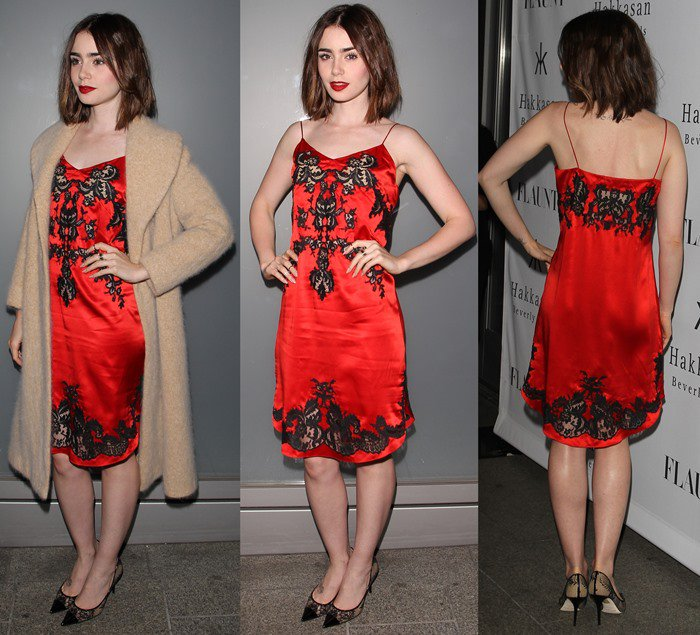 Lily Collins flaunts her legs at Flaunt Magazine's November Issue Launch Party