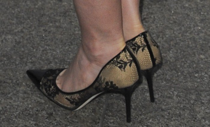 Lily Collins's feet in Jimmy Choo Amika lace and leather pumps
