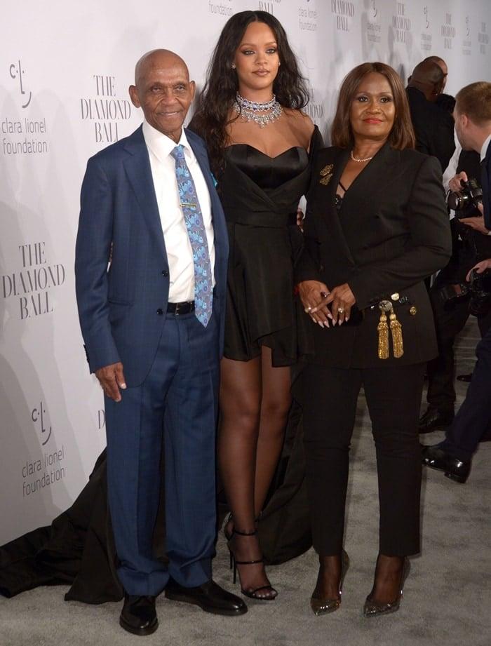 Rihanna, her maternal grandfather Lionel Braithwaite, and her mother Monica Braithwaite