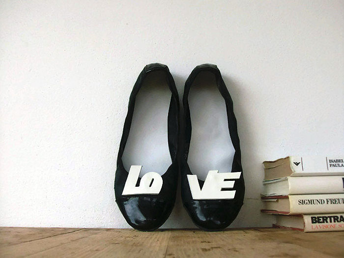 White Patent Leather L-O-V-E Letters Shoe Clips
