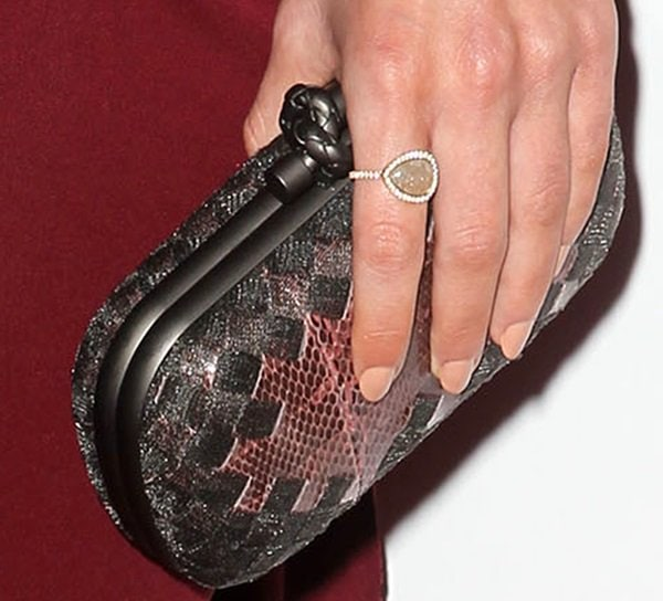 Megan Fox carrying a Bottega Veneta clutch at the 'This Is 40' - Los Angeles Premiere