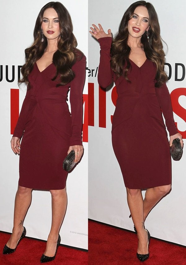 Megan Fox wearing a bold Roland Mouret 'Darch' dress at the 'This Is 40' - Los Angeles premiere at Grauman's Chinese Theatre on December 12, 2012 in Hollywood, California