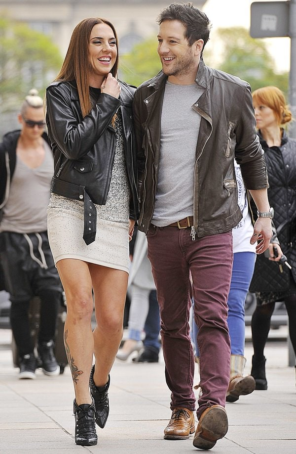 Mel C and Matt Cardle arrive in Warsaw for the TV show 'Good Morning TVN' in Warsaw on October 26, 2013