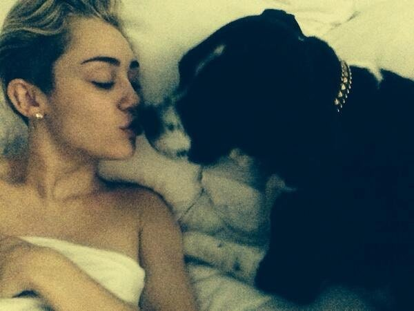 """Miley Cyrus' post-21st birthday Twitter pic with the caption """"perfect start to the perfect day"""""""