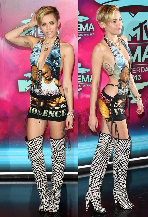 """Miley Cyrus in a short deep-plunging halter ensemble with the message """"Please Stop Violence"""""""