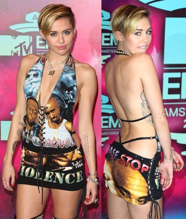 Miley Cyrusin a custom-made deep-plunging halter by New York Vintage