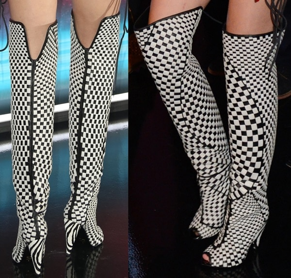 Miley Cyrus inmonochrome chequered thigh-high boots by Tom Ford