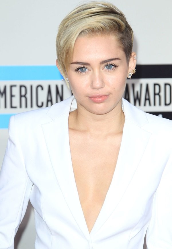 Short Haired Miley Cyrus Rocks Buzz Worthy Hairstyle In White Suit