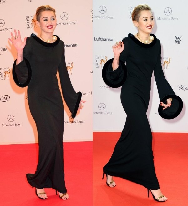 Miley Cyrus rocking strappy black sandals by Fendi