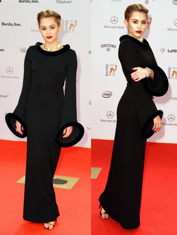 Miley Cyrus in a gothic vintage Jean Paul Gaultier gown
