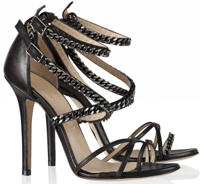 Olcay Gulsen Chain Sandals in Black