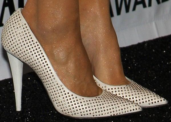 Paula Patton's feet in studded Giuseppe Zanotti pumps