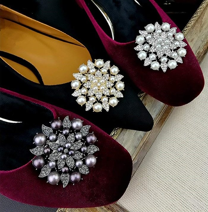 Pearl Flower Shoe Clips