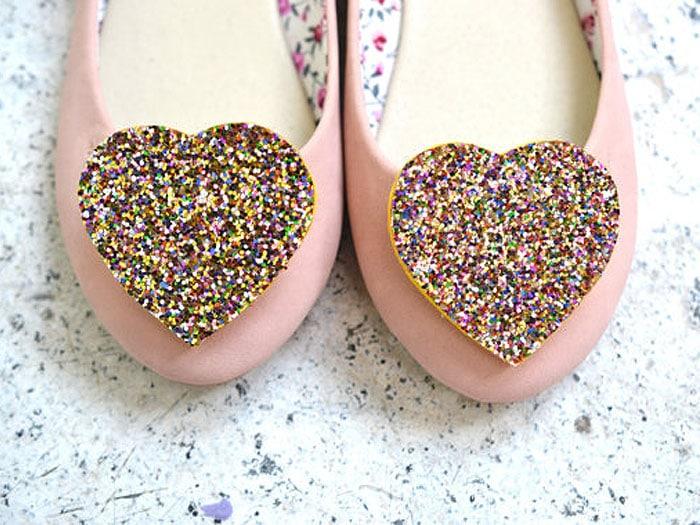 Big Glittery Heart Shoe Clips