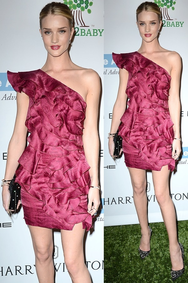 Rosie Huntington-Whiteley wears an Isabel Marant dress with a pair of Christian Louboutin pumps