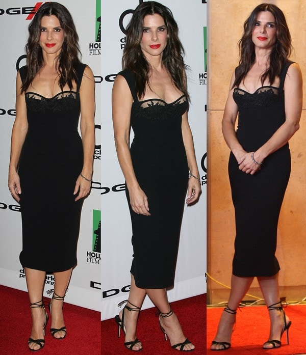 "Sandra Bullock wore a black dress with a sweetheart lace bodice paired with Jimmy Choo ""Denar"" sandals in black suede"