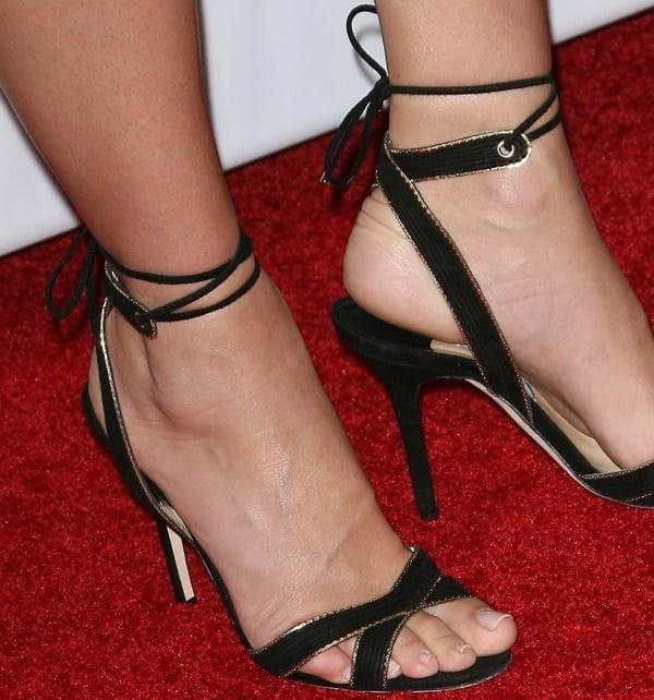 Sandra Bullock shows off her feet in Jimmy Choo Denar sandals
