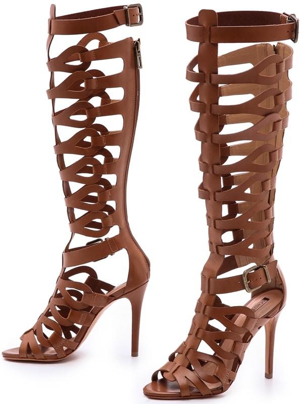 Schutz Brown Eirini Cutout Tall Gladiator Sandals