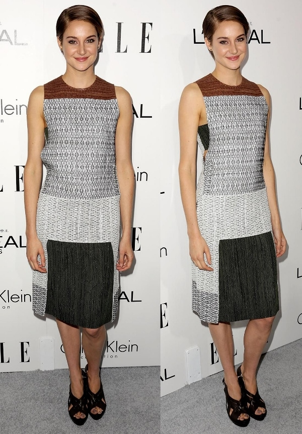 Shailene Woodley in a geometric tunic print dress at ELLE's 20th Annual Women in Hollywood Celebration