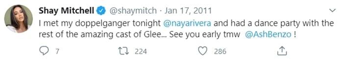 Shay Mitchell called Naya Rivera her doppelganger on Twitter