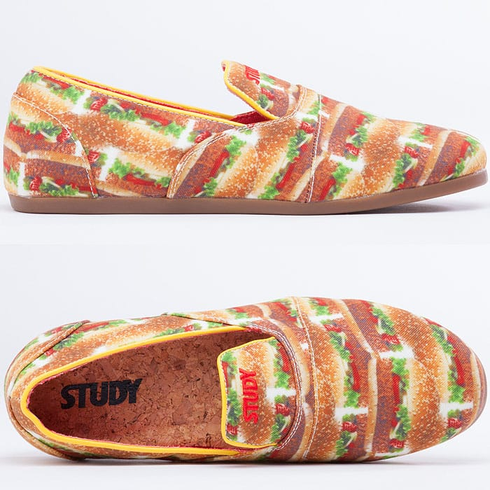 Slip-ons printed with juicy burgers