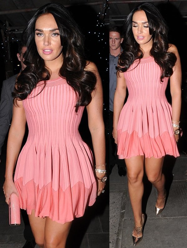Tamara Ecclestone showed off her inked feet in a pink skater dress