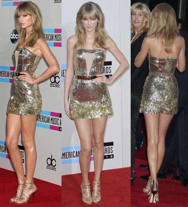 Taylor Swift at the 2013 American Music Awards held at Nokia Theater in Los Angeles on November 24, 2013