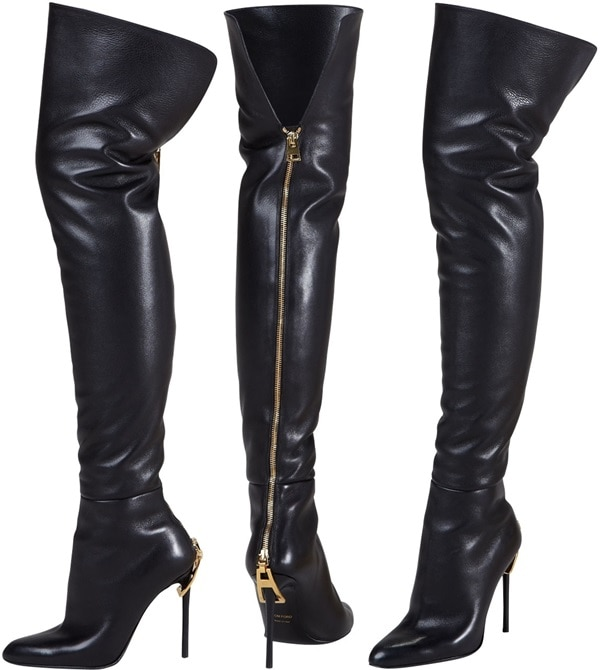 Tom Ford Zipper-Heel Over-the-Knee Leather Boot